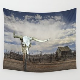 Steer Skull and Western Fenced Corral Wall Tapestry