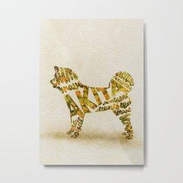 Akita Inu Typography Art / Watercolor Painting Metal Print