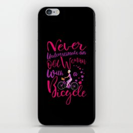 Womens Never Underestimate An Old Woman With A Bicycle Cool Gift V-Neck design iPhone Skin