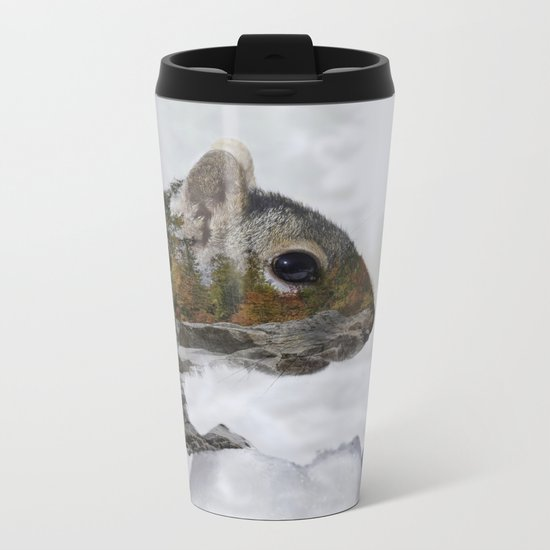 Waterfall Squirrel Metal Travel Mug