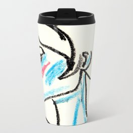perfil girl with a red nose Metal Travel Mug
