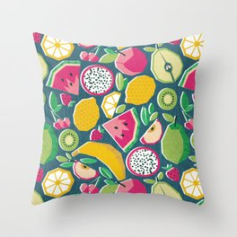 Paper cut geo fruits // teal background multicoloured geometric fruits Throw Pillow