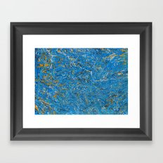 Blue and Gold marbled stone Framed Art Print