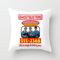 ghostbusters Throw Pillows featuring Ghostbusters Advertisement by Silvio Ledbetter