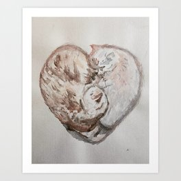 Cuddle Heart Art Print