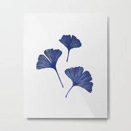 Blue Ginkgo Biloba Pattern Metal Print