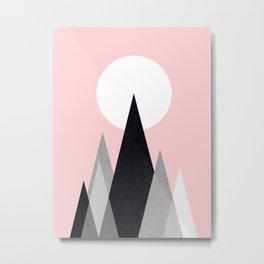 Mountains in pink sky Metal Print
