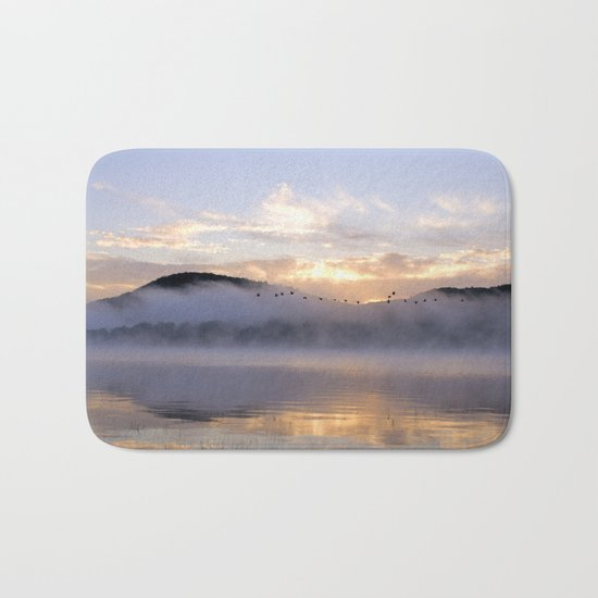 Misty Morning on the Lake Bath Mat