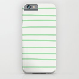 Pastel Green Hand Drawn Line Pattern on Linen White Pairs to 2020 Color of the Year Neo Mint iPhone Case