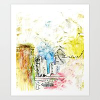 cityscape Art Prints featuring Cityscape by Alyssa Leary