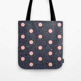 Black Glitter and Pink Polka Dots Tote Bag