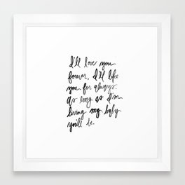 I'll love you forever - Black and White Watercolor Framed Art Print
