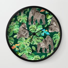 Gorillas in the Emerald Forest Wall Clock