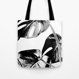 Black monstera leaves watercolor Tote Bag