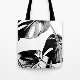 Black monstera leaves watercolor Tote Bag
