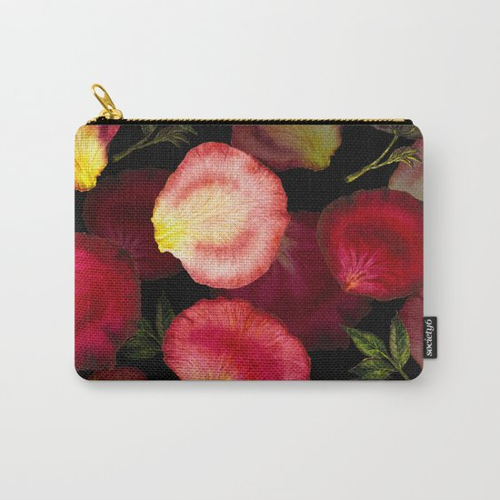 Rose Petal Pattern on Black 02 Carry-All Pouch