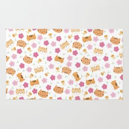 Moew play with floral and plants Rug