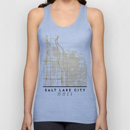 SALT LAKE CITY UTAH CITY STREET MAP ART Unisex Tank Top