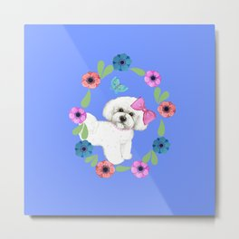 Bichon Frise Dog with butterfly and flowers on blue Metal Print