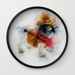 Cowboy Bulldog Wall Clock