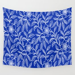 Vintage Lace Floral Sapphire Blue Wall Tapestry
