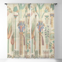 Egyptian paper papyrus hieroglyphs Sheer Curtain