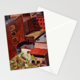 Classical African American Landscape 'Over the Harlem Rooftops' by Malvin Gray Johnson Stationery Cards