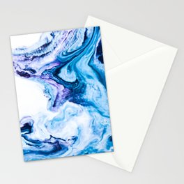 Blue marbled paper Stationery Cards
