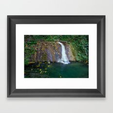 Autumn leaves in the waterfall Framed Art Print