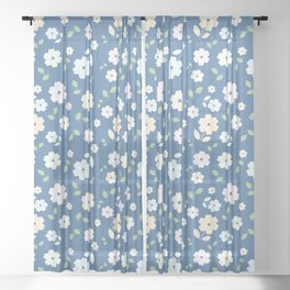 Small Flowers on Blue Sheer Curtain