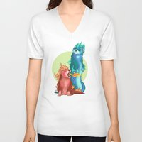ferret V-neck T-shirts featuring Ferret Dragons by AlliePets