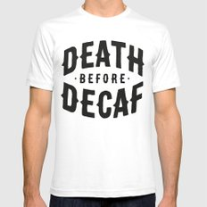 Death Before Decaf Mens Fitted Tee 2X-LARGE White