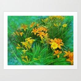 Day-glo Lilies Art Print