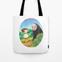 chihiro Tote Bags featuring Chihiro and No-Face by MTerrenal