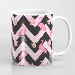 Black and pink Zig Zag With Flamingos and hawaiian flowers Pattern Coffee Mug