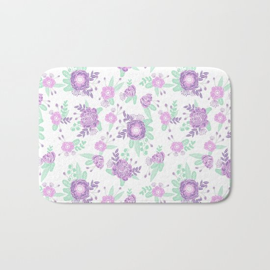 Floral pattern minimal painted nursery mint and purple pastel decor florals Bath Mat