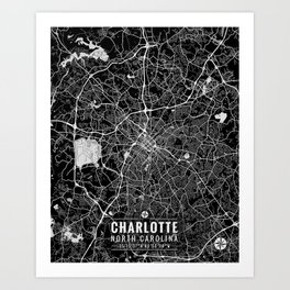 Charlotte North Carolina City Map Art Art Print