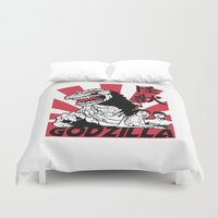 godzilla Duvet Covers featuring Gojira by Buby87