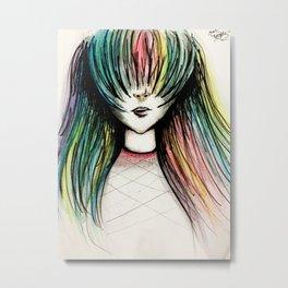 Rainbow Hair Metal Print