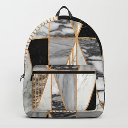 Marble Triangles - Black and White Backpack