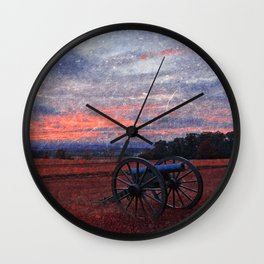 Gettysburg Cannon Sunset - Ruby Rapture Wall Clock