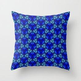 Deep Blue Sea Bell Flower Geometric Blue Under the Sea 3D Design Spirit Organic Throw Pillow