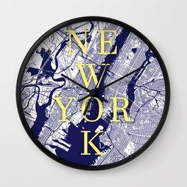 New York Typographic Print. NYC STREETS Wall Clock