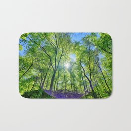 Perfect lens flare in a summer afternoon in the forest Bath Mat