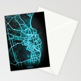 Odessa, Ukraine, Blue, White, Neon, Glow, City, Map Stationery Cards