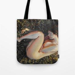 Woman among the grass Tote Bag