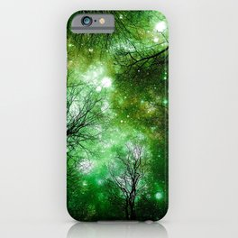 Black Trees Green Space iPhone Case