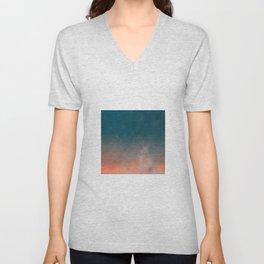 Modern  Textured  Atlantic Blue Abstract Unisex V-Neck