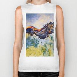 Wild Horse in Sea of Grass watercolor by CheyAnne Sexton Biker Tank