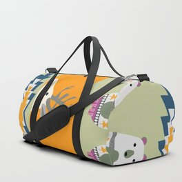 Colorful Christmas pattern with deer and bears Duffle Bag